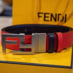 Red Reversible Fendi Belt